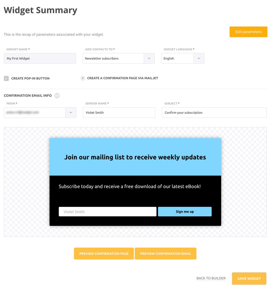 Subscription Widget