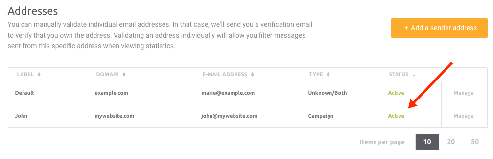 how to add a sender address account mailjet