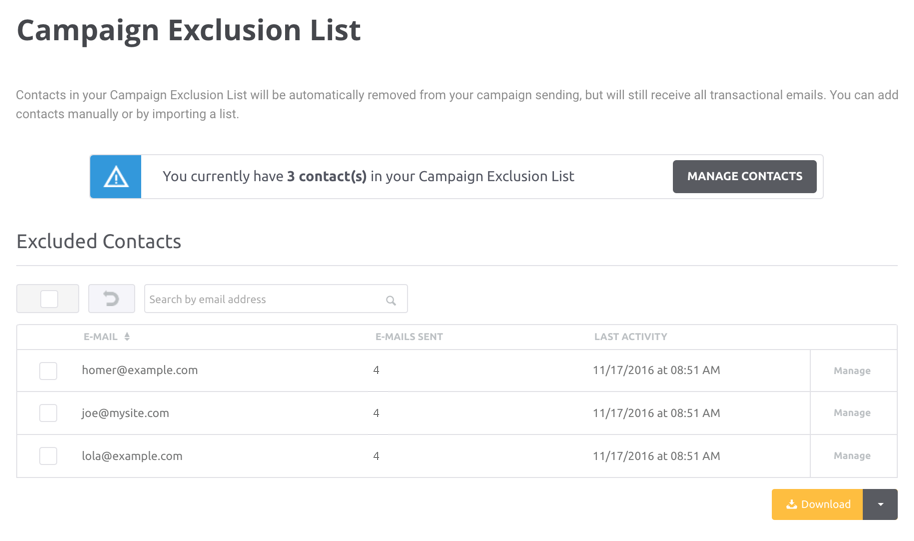 Campaign Exclusion List