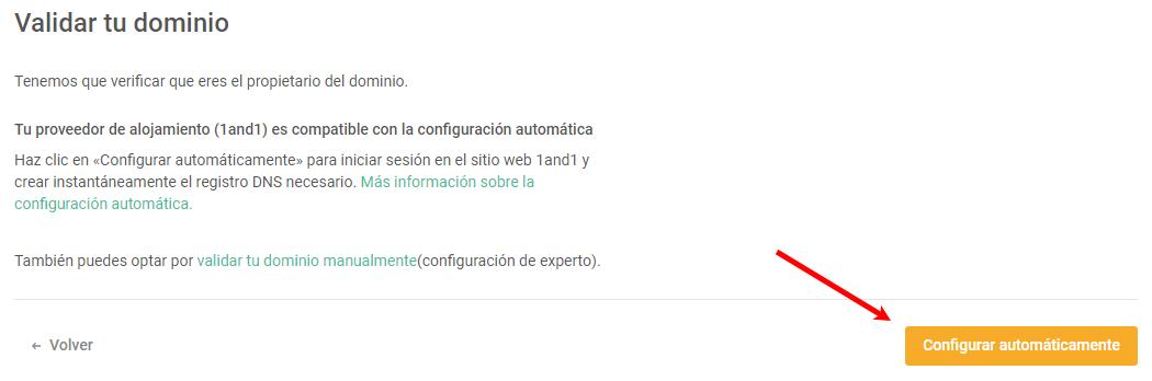 la validación automática de dominios