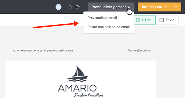 Crear y Enviar Sus Emails