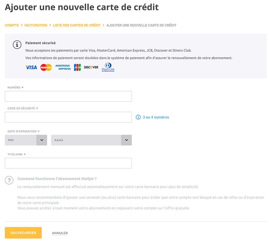 modifier ma carte de crédit